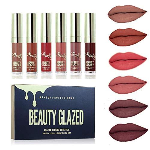 Beauty Glazed 6 Stück Matte Flüssigkeit Lippenstift, Wasserdichte Langlebige Lipgloss Kosmetik Make up