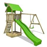 FATMOOSE Spielturm MagicMonkey Ultra XXL Kletterturm Baumhaus mit Schaukel und apfelgrüner Rutsche