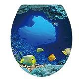 UNIQUEBELLA Klodeckelaufkleber WC Sitz Aufkleber Süßwasserzierfische Design Tapete für Toilettendeckel Klodeckel 34*40cm