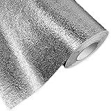 Hottong de cuisine résistant à l'huile imperméable à l'eau Autocollant en feuille d'aluminium de cuisine cuisinière Cabinet tiroir Peau d'orange Grain Autocollant Papier peint 0.4 * 5M Silver