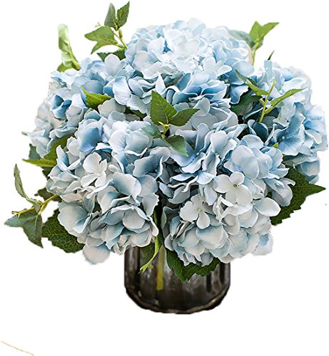 Lannu Künstliche Seide Hortensie Blumen Stoff Floral natürlich Fake Hortensie Blumen Hochzeit Home Flower Wall Decor Pack 2. Blau - Home Decor Pack