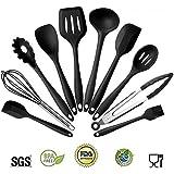 YUL 10 pièces Silicone Résistant à la chaleur Ustensiles de cuisine avec Revêtement solide hygiénique,Non toxique,Non-Stick,Sans BPA (black)