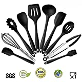 YUL 10-Piece Silicone Heat Resistant Kitchen Utensils with Hygienic Solid Coating,Non-toxic, Non-Stick, BPA Free(Black)