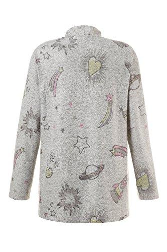Ulla Popken Femme Grandes tailles   Cardigan maille douce imprimé galactique manches longues confort femme   712257 gris clair chiné