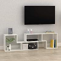 DEVAISE Meuble TV Bibliothèque en Bois de Salon Combinaisons Multiples 110cm L x 29cm l x 51cm H 2 pièces (d'épaisseur de 15mm) Blanc