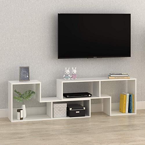 DEVAISE Multifunctional Hölzernen TV-Lowboard/Bücherregal/TV Schrank; 15mm Dicke, Weiß -
