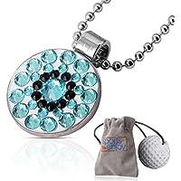 lifetoenjoy Golf Ball Marker Halskette für Frauen-Mit verstellbarer Kette für Ihren Wünschen-Beautiful Bling Kristalle Design-in Samtbeutel-mit Super Starker Magnet-perfekte Geschenk