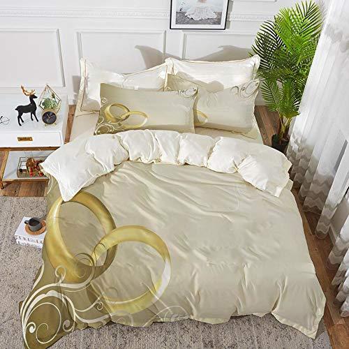 Yaoni Bettwäsche-Set, Mikrofaser, Hochzeitsdekoration, Zwei Eheringe verschlungen verwirbelt floralen Rahmen romantisch, Sepia Gold Weiß,1 Bettbezug 220 x 240cm + 2 Kopfkissenbezug 80x80cm