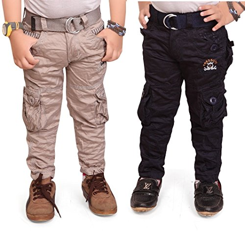 Adbucks Boys Cotton Cargo Pants ( Combo Of 2) (2-3 Years, Cream+Navyblue)