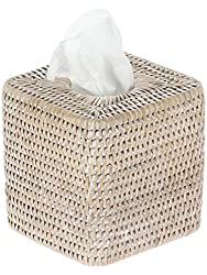 Kouboo La Jolla Rattan Square Tissue Box Cover, White Wash