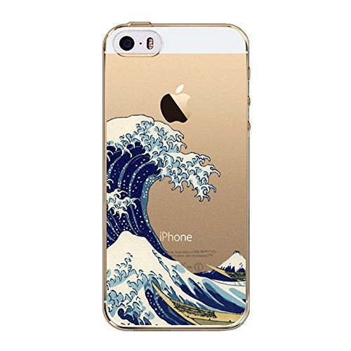 iPhone 7Plus, Bunt, Gummi Flexible Silikon Tasche Bumper für Apple Transparent Cover-Japanische Sea Waves