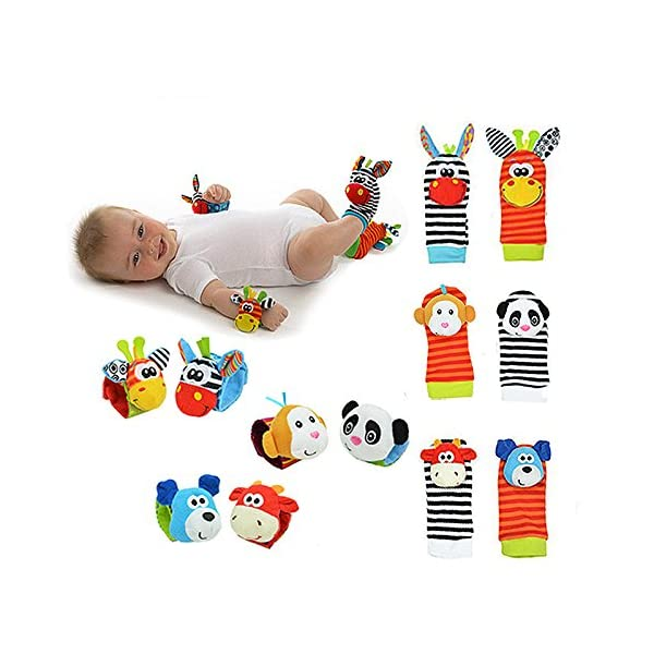 Hosairen Calcetines para Bebé, con Juguetes, Adecuado para bebé 0-6 Meses, Sonajeros incorporados 5