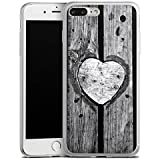 Apple iPhone 8 Plus Slim Case Silikon Hülle Schutzhülle Holz Herz Valentinstag