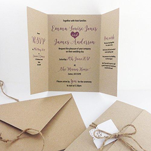 Made by Mika - Invitaciones de boda artesanales, papel kraft con cuerda y etiqueta (10 unidades)