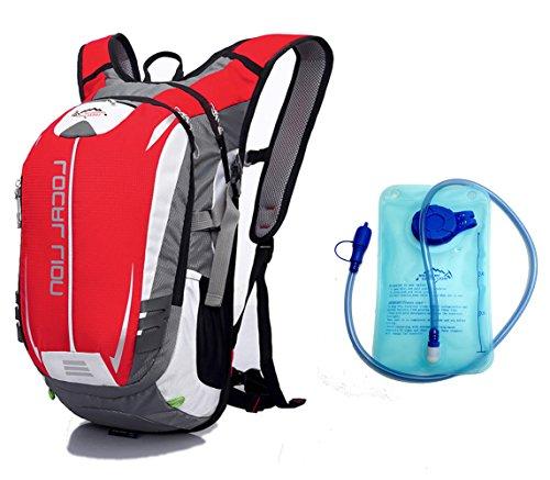 Cuckoo 18L Wasserdichte Hydratation Blase Pack Wandern Daypack Leichte Outdoor Sport Rucksack für Radfahren Radfahren Laufen Camping Rot + Hydratation Blase