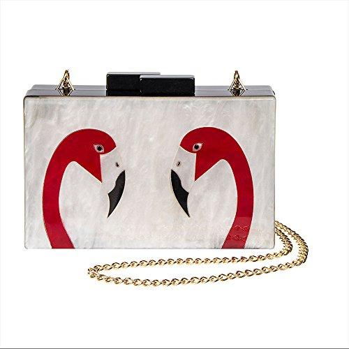 Borsetta Clutch Bag Box Flamingo Swirl Blue Banana (Bianco/Nero) Bianco