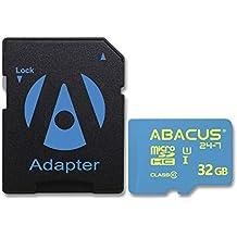 Abacus24–732GB Micro SD tarjeta de memoria [adaptador SD] para Samsung Galaxy J5, A5, A3, Wileyfox Swift 2, Spark, Moto G4, Huawei P8P9Lite, Honor 5X 5C, LG K4K8K10, Cubot Note S, BLU energía diamond 3G