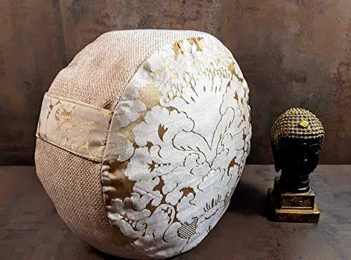 Yogakissen.Meditationskissen mit barocken Ornamenten in Gold.