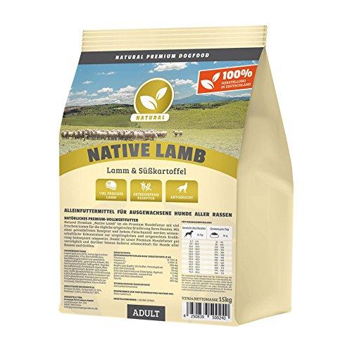 Hundeland Natural | Native Lamb | 15 kg | Lamm + Süßkartoffel | getreidefreies Hundefutter | Trockenfutter für alle Hunderassen | viel frisches Fleisch | artgerecht & besonders gut verträglich (Pulver Yucca)