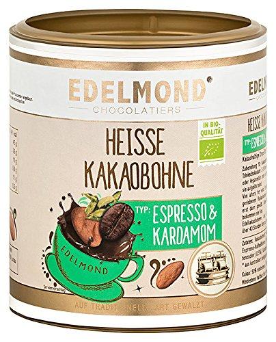 Heisse Kakaobohne & Espresso. Ohne Zucker von Edelmond. Bio. Heiß & konzentriert für Trinkschokolade. Vegan & Fairtrade, kein Pulver.