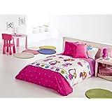 Reig Martí Candy - Juego de funda nórdica estampada, 3 piezas, para cama de 90 cm, color fucsia
