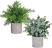 Winlyn 2 Pack Artificial Potted Plants Faux Eucalyptus & Rosemary Greenery in Pots Small Houseplants 8.3\&