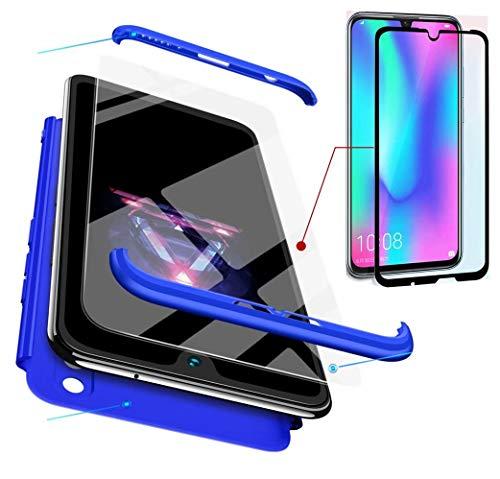 AILZH Huawei Honor 10 lite Hülle 360 Grad Schutzhülle PC Hartschale Anti-Schock HandyHülle Anti-Kratz Stoßfänger 360° Cover Case Matte Schutzkasten+Gehärteter Glasfilm(Blau)