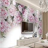Weaeo Im Europäischen Stil Romantisch Pfingstrose Blumen Fernseher Sofa Hintergrund Benutzerdefinierte Großes Wandbild Grüne Tapete-280 X 200 Cm