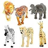 LEORX 6 Pezzi Animali Giocattolo Tiger Leopard Leone Giraffa Zebra Elephant Miniatura