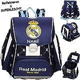 Unbekannt Schulranzen -  Fussball - Real Madrid - Club de Futbol / FCM  - inkl. Name - SUPERLEICHT & ergonomisch + anatomisch - Brustgurt - Ranzen Tornister / Schulru..