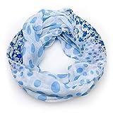 MANUMAR Loop-Schal für Damen | Hals-Tuch in hell-blau mit Punkte Motiv als perfektes Herbst Winter Accessoire | Schlauchschal | Damen-Schal | Rundschal | Geschenkidee für Frauen und Mädchen