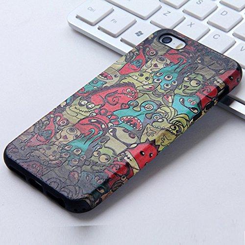 UKDANDANWEI Apple iPhone 5S Hülle - TPU 3D Silikon Schutzhülle Handyhülle kratzfeste stoßdämpfende Case für Apple iPhone SE/5/5S [CCD002] CCD023
