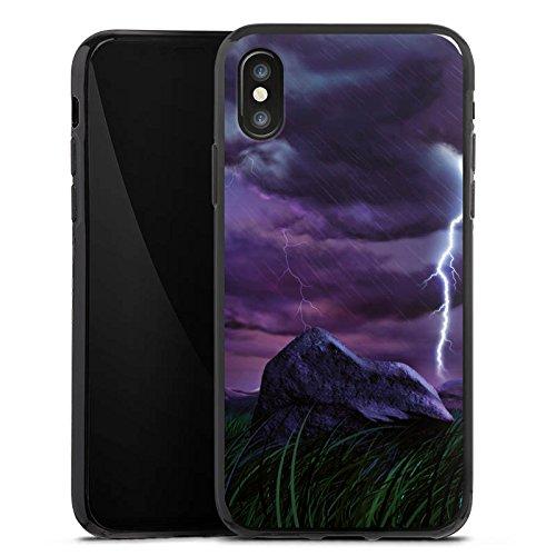 Apple iPhone X Silikon Hülle Case Schutzhülle Lila Blitz Gewitter Silikon Case schwarz