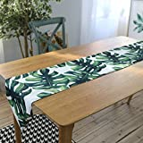 LUYR.R Europäischen Stil Dekoration Wasserdichte Tischläufer, Monstera Grün Einfache Couchtisch Tischdecke,30*220Cm
