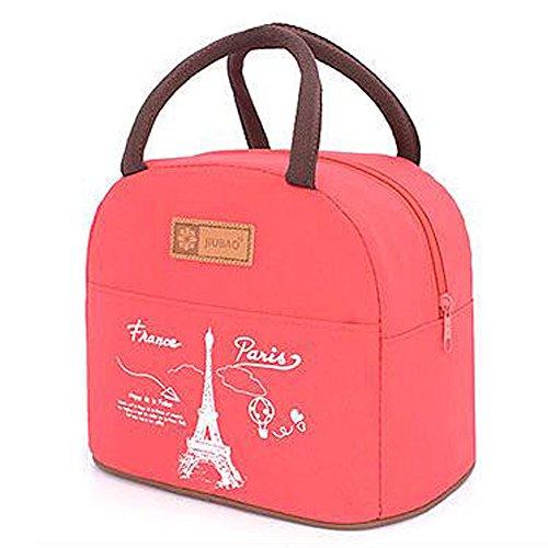 muitifunction sacchetto a Lunch Bento in tela mignonne per picnic Work School Tote Borsa porta-pranzo con chiusura lampo Parigi Stylish rosso