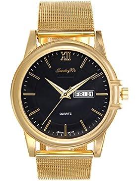 Lancardo Herren Armbanduhr, Doppelte Kalender funktion Analog Männlich Luxus Business Casual Uhr, mit Edelstahl...