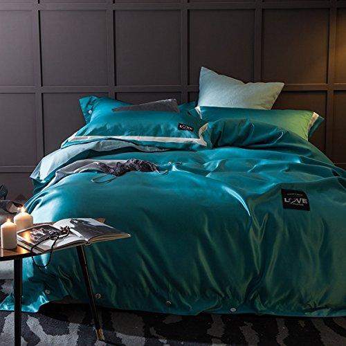 LEDMLSH Quilt Cover Bettdecke Set Tröster Kissenbezug Super König und Königin blau-grün ( größe : Queen )