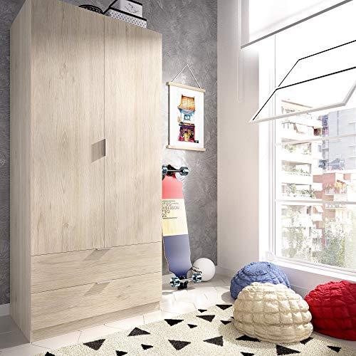 HOMEKIT Armario ropero 2 Puertas y 2 cajones, Natural, 81x184x52 cm