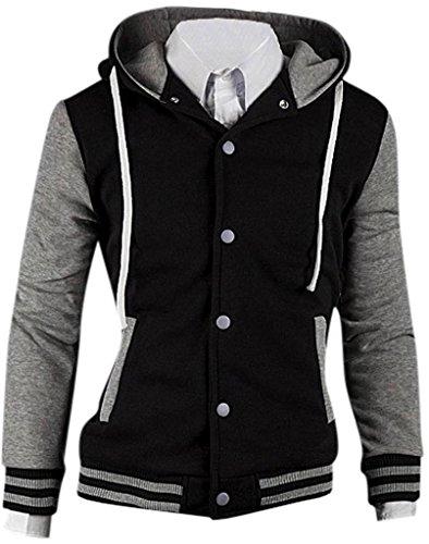 Jeansian Hommes Manteau Capuche Manteaux Sport Men Casual Hoodie Outerwear 9006 gray