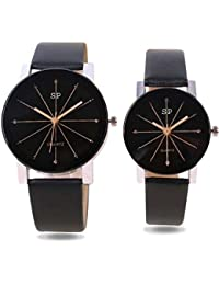 SP New Design Black Color Analog Watch For Men And Women (Couple Watch) - Pack Of 2-PRA-10859-953