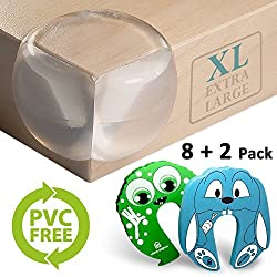PVC FREE Caring Corner Guards + Strong Clear Gel Adhesive | 8+2 Pack | Corner Protectors for Baby and Child - Choking Safe