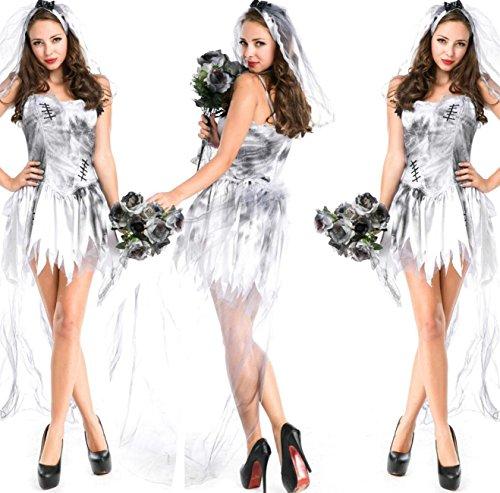 (DuuoZy Zombie Geisterbraut Kostüm-Halloween-Cosplay Kleid Set Frauen, warm and White, One Size)