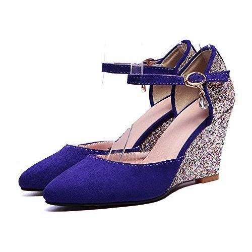 AgooLar Femme Rond à Talon Haut Boucle Chaussures Légeres Bleu