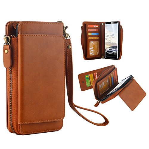 Galaxy Note 8 Brieftasche Hülle,Galaxy Note 8 Wallet Case, Snewill Premium Flip PU Leather 12 Card Slots Handyhülle Zipper Purse [Cash Storage] with Detachable Magnetic Schutzhülle für Samsung Galaxy Note 8 - Brown (Zipper Wallet)