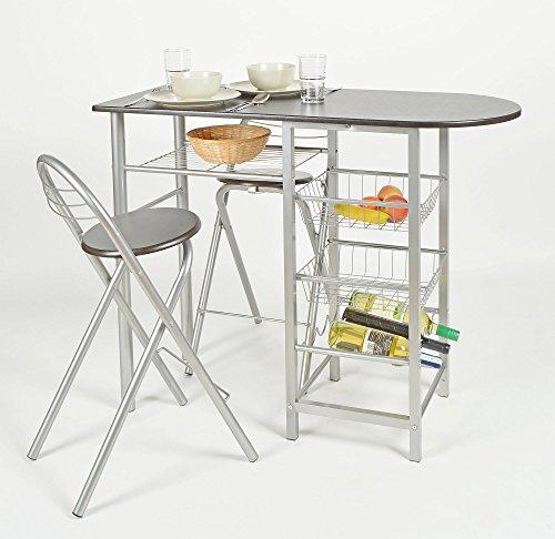 Sgabelli E Tavoli Alluminio.Ts Ideen Set 3 Pezzi Tavolo Con 2 Sgabelli In Alluminio E