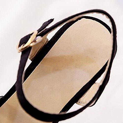 Slope mit Sandalen weiblichen Sommer High-Heels dick wasserdichte Base ausgesetzt Toe Casual Sandalen Black