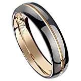 Piersando Band Ring Silber Bandring Ehering Partnerring Liebesring Damen Herren Titan Wolfram Schwarz Rosegold IP ohne Stein Rose Gold Größe 58 (18.5)