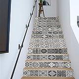 WALPLUS WFS045-Schwarz-Weiß Vintage Fliesen Treppen Aufkleber Mixed, 100 x 18 x 0,02 cm