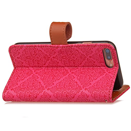 JAWSEU Coque Etui pour iPhone 7 Plus,iPhone 7 Plus Leather Case with Strap,iPhone 7 Plus Etui en Cuir Folio Flip Wallet Cover Case,2017 Neuf Style Femme Homme Up and Down Unlock Holster Rabat Portefeu Rose rouge*