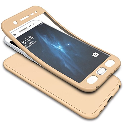 Ukayfe 360 Degrés de Protection Complète Coque intégrale Silicone Double Faces Etui Full Body Avant et arrière Protection Étui Housse Case Cover Couverture Etui pour Samsung Galaxy S7 Edge,Or